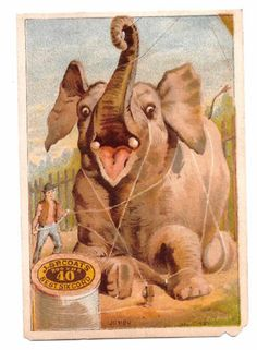 1890 Trade Card Elephant Tied Down with J P Coats' Best Sewing Thread