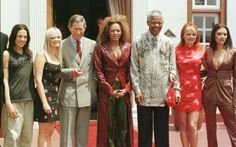 The Spice Girls and Prince Charles with Nelson Mandela