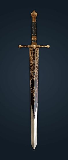 RPG RULES sword inlaid with gold, spiraled hilt perfect for a paladin - or a found item Holy Avenger? Swords And Daggers, Knives And Swords, Armas Ninja, Cool Swords, Fantasy Sword, Fantasy Blade, Sword Design, 3d Modelle, Templer