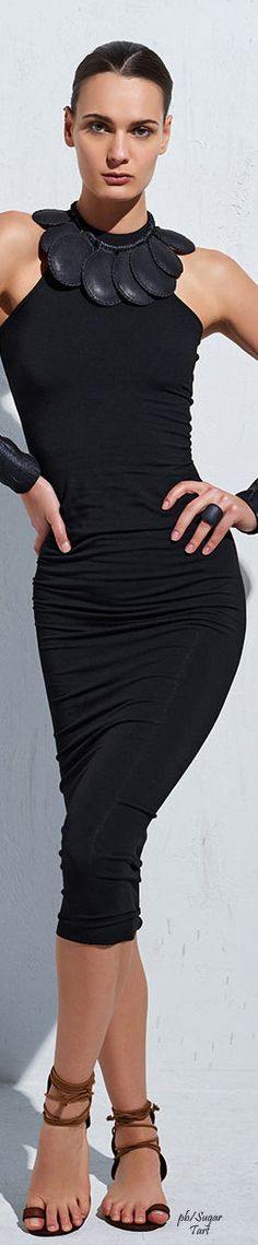 UrbanZen - Donna Karan black sleeveless dress women fashion outfit clothing style apparel @roressclothes closet ideas