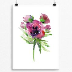 Beautifully painted with Watercolor  PTP Flower Series 041  Pear Tea Paperie Original Flower Series  INSTANT DIGITAL PRINT   No Physical Paintings