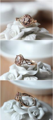 Oval Cut Rose Gold Morganite Engagement Ring