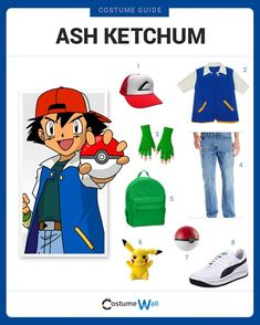 Dress like Ash Ketchum Dress up like Pokemon trainer, Ask Ketchum. See cosplay inspiration and a costume guide of Ash Ketchum. Family Halloween Costumes, Boy Costumes, Halloween Cosplay, Halloween Outfits, Halloween Kids, Cosplay Costumes, Costume Dress, Pokemon Trainer Kostüm, Ash Pokemon