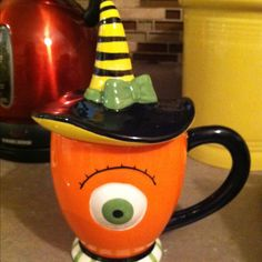 Creepily cute lidded mug from Cracker Barrel that I use as my Halloween sugar bowl!
