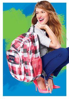 plaid is rad. It's my bag! Jansport, School Backpacks, Kohls, Winter Coat, Pleated Skirt, Hair Bows, Plaid, My Style, Random