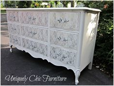 a FP dresser painted and then the drawers were painted with lace over the drawers and a different color sprayed on top for a nice decorative look! Beautiful!