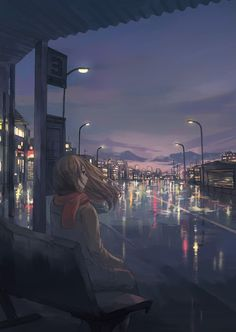 ✮ ANIME ART ✮ city scenery. . .night time. . .rain. . .reflection. . .city lights. . .girl. . .scarf. . .wind. . .cute. . .kawaii