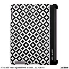 black and white squares with diamonds and name - #personalized #iPad #case