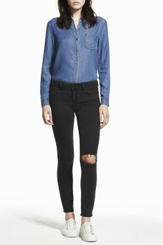 """All of the figure flattering characteristics of our Instasculpt jean with a 28 inseam and a slender calf hugging bottom opening. This style boasts a naturally worn in looking washed down black with one busted open knee and light distress on hems. Please note that the distressed knee will open further with wear.  Front Rise: 9"""" Inseam: 28"""" Bottom Opening: 10.5""""  Margaux Ankle Skinny by DL1961. Clothing - Bottoms - Jeans & Denim - Distressed Clothing - Bottoms - Jeans & Denim - Skinny Las…"""