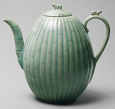 Melon-Shaped Ewer   Goryeo dynasty, 1st half of 12th century   Korea   Stoneware with carved and incised decoration of bamboo under celadon glaze