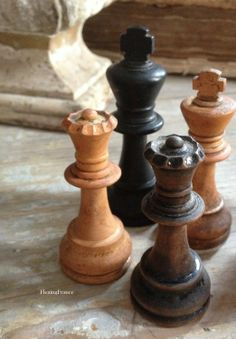 Full set of antique chess pieces.Each piece is heavy in weight and intricate in detail.Tallest piece is appx 3.5