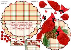 Over the edge rocker Cardinals and tartan decoupage card on Craftsuprint  - Now available for download!