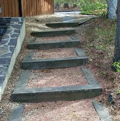 Need to make stairs going down the dirt hill around the cabin.  I like these.