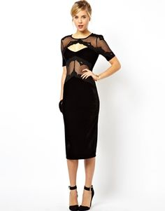 Image 1 of ASOS Lace and Velvet Patch Dress