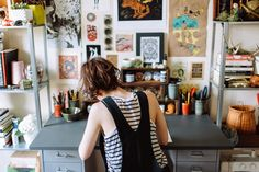 The workspace of Artist, Joëlle Workman - via Moon to Moon