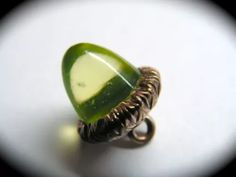 Antique button ~ acorn vaseline uranium glass in metal
