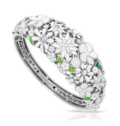 Jardin White Bangle by Belle Étoile.  Fashion Jewelry.  Spring Jewelry.  Silver Jewelry.