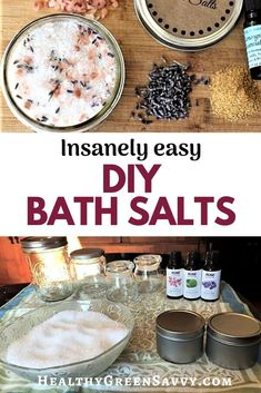 Homemade bath salts are RIDICULOUSLY easy to make. This super-simplified bath salt recipe involves nothing more than mixing some epsom salts with a little essential oil. You'll never buy overpriced bath salts again. Homemade Body Care, Easy Homemade Gifts, Lip Scrub Homemade, Diy Gifts, Green Tea Bath, Bath Salts Recipe, Salt Recipe, Diy Skin Care, Home Made Soap