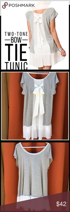 Bow Tie Tunic/Dress Bow Tie Tunic; a very roomy fit that could be worn as a mini dress or a tunic depending on height; two-tone with the grey being a soft comfy cotton a dressier chiffon ruffle bottom and bow tie on the back. Boutique Tops