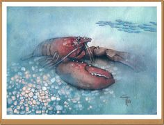 Astice - Lobster - Gianluigi Punzo - Naples - Napoli - Italy - Italia - Watercolor - Acquerello - Aquarelle - Acuarela
