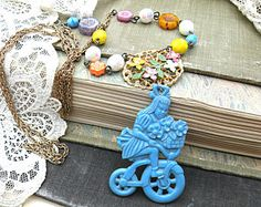 summer bicycle necklace assemblage flowers bike girl upcycled vintage jewelry repurposed object cottage chic memories