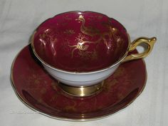 Vintage Coalport Red with Gold Design Birds Bugs Tea Cup  Saucer Set 1920's