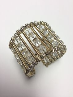 Vintage 1960s Wide Crystal And Gold Bead Cuff by pinkpoppyvintage on Etsy
