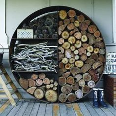 Love this wood stacker. What a nifty idea. The Une… Love this wood … Love this wood stacker. What a nifty idea. The Une… Love this wood stacker. What a nifty idea. The Une… Love this wood stacker. Firewood Holder, Firewood Storage, Cabin In The Woods, Into The Woods, Landscaping With Rocks, Pool Landscaping, Loft Interior, Outdoor Fireplace Designs, Fireplace Ideas