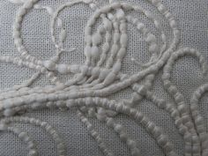 Couching technique - modern embroidery stitch sample; textiles design // Rachel Clare