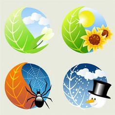 Four Seasons Icon Vector Graphic