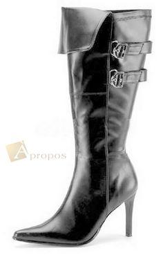 Stiefel Leder 9,5cm Venice Damen Pirat Stulpe Schwarz Schnallen Apropos