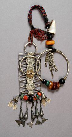 Africa | Temporal pendant; coral, amber, amazonite and shells.  Morocco | ©Linda Pastorino ~ Sold