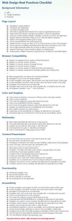 Web Design Best Practices Checklist