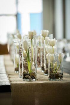 Modern white rustic wedding centerpiece / http://www.himisspuff.com/white-tulip-wedding-ideas-for-spring-weddings/