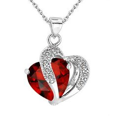 HEART CRYSTAL RHINESTONE SILVER CHAIN PENDANT NECKLACE  $9.89