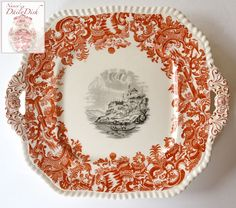 Vintage 2 Color Transferware Platter Rust Red & Black Spode Copeland E