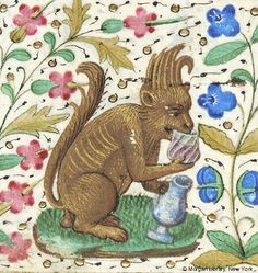 Fantastic animal, resembling squirrel, holding pitcher in left hand and drinking from glass held in right hand | Book of Hours | France, Paris | ca. 1460 | The Morgan Library & Museum
