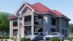 Ramani ya nyumba vyumba 4 yenye tofali na bati 108 Beautiful House Plans, Beautiful Homes, Layout Site, African House, Dar Es Salaam, Monster House Plans, Roof Plan, Kuta, Furniture Layout