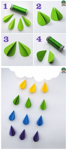 DIY Paper Rain Mobile http://www.atelier-cherry.com/search/label/papelaria #decor #diy
