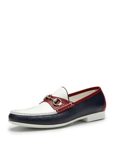 Multicolored Leather Horsebit Loafer, Red/Blue  by Gucci at Bergdorf Goodman.