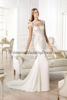 Atelier Pronovias Yanik Short sleeve Long train Wedding Dress