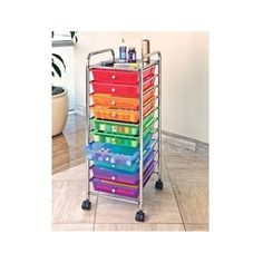 Organizer Cart 10 Drawer Office Storage Rolling Organize Kitchen Multi Color #SevilleClassics