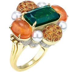 Gorgeous One-of-a-Kind Diamond, Mandarin Garnet Ring