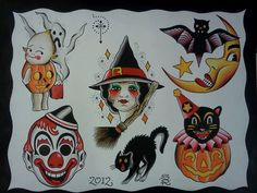 Halloween Tattoo Flash by Steve Rieck Las Vegas