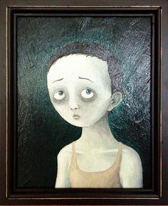 """The sad and kitschy boy""   (Ebeneeza K. 2012)  22cm x 27cm, Acrylic on wood"