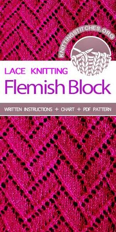 Flemish Block Lace on a background of sockinette stitch. Flemish Block Lace is a lovely knitting stitch that is not difficult to accomplish. It makes a beautiful shawl or scarf. Lace Knitting Patterns, Knitting Stiches, Knitting Charts, Loom Knitting, Free Knitting, Stitch Patterns, Knit Stitches, Creations, Crochet Lace