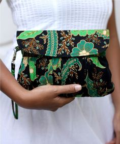 Pleated Wristlet Purse in Green Javanese Batik - Utary #etsy