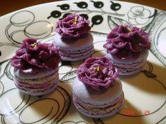 Blueberry macarons — Mini Cakes / Petit Fours