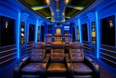 Eclectic Home Theater with Carpet, Box ceiling, interior wallpaper