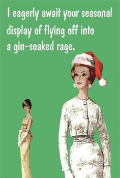I eagerly await your seasonal display of flying off into a gin-soaked rage. Funny Christmas Cards, Christmas Quotes, Retro Christmas, Christmas Humor, Christmas Sentiments, Funny Xmas, Xmas Cards, Christmas Stuff, Christmas 2019